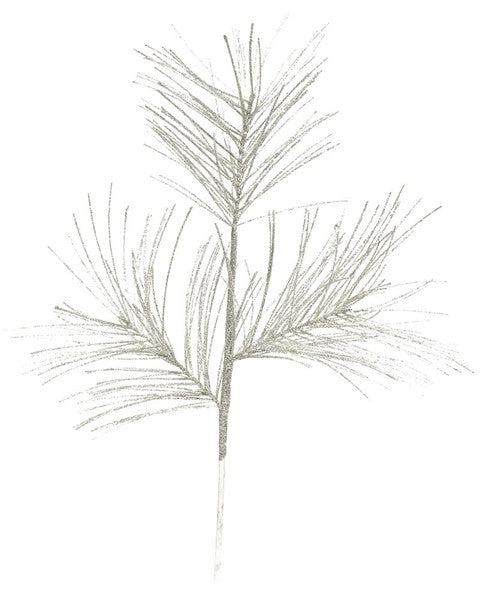 "28"" Glittered Longleaf Pine Spray-Silver   SKU XS 701026"