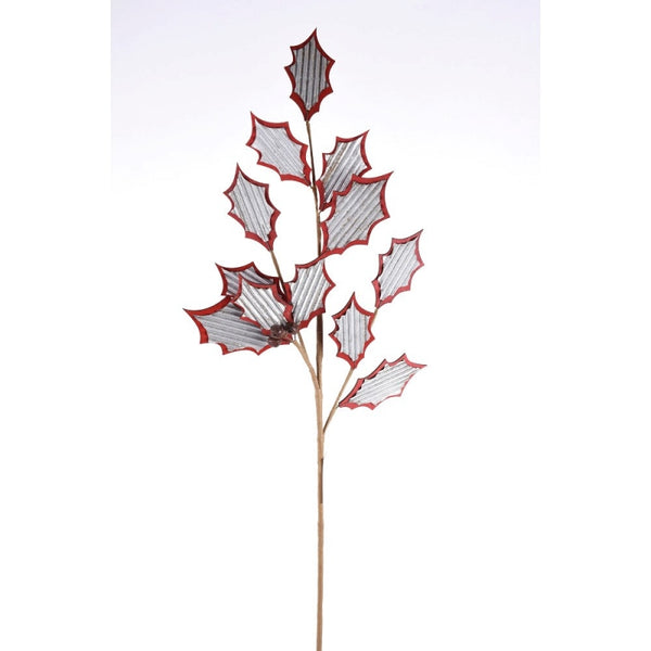 "31"" Craft Holly Leaves Spray- Natural/Red    SKU 104747"