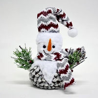 "14"" Pinecone Snowman With Scarf/Hat  SKU B384"
