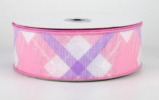 "1.5"" Iridescent Glitter Plaid on Royal Ribbon-Pink/Lavender/Irid White  SKU RGA169027"