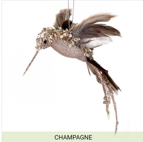"8"" Glittered Sequin Beaded Hummingbird Ornament-Champagne  SKU MTX62525CHAM"