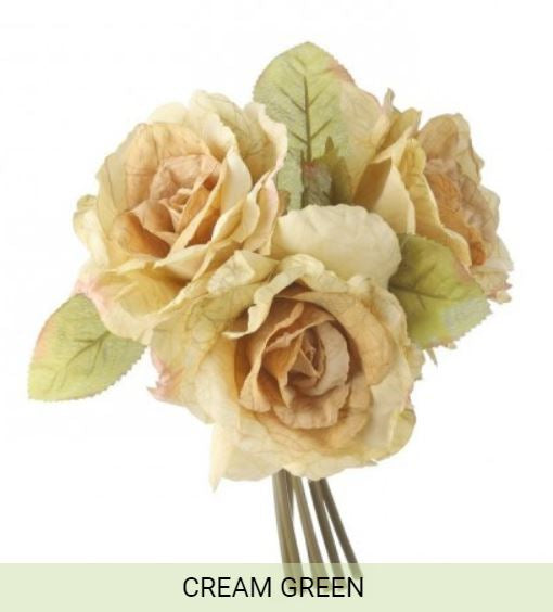 "10"" Harvest Rose Bundle- Cream/Green  SKU MTH12504-CG"