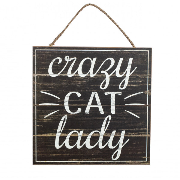 "10"" Square Wooden Sign: Cat Lady  SKU AP8348"