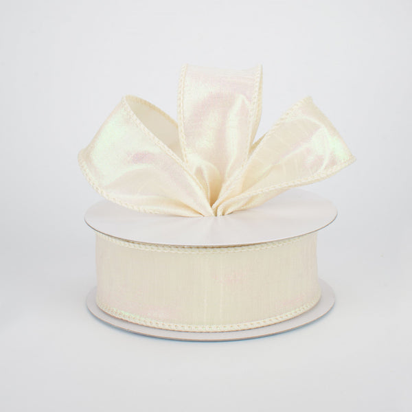 "1.5"" Iridescent Dupioni Ribbon- Cream SKU RG0196464"