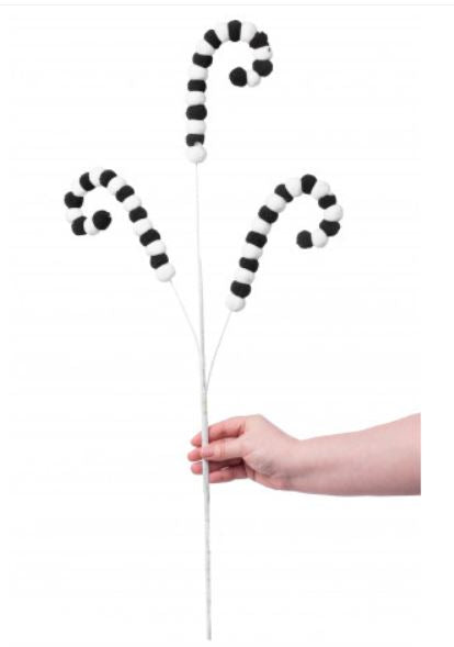 "28"" Fuzzy Ball Spray-Black/White   SKU 62298SP28"