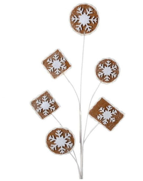 "30"" Frosted Gingerbread Cookie Spray-White/Brown  SKU MTX 61989"