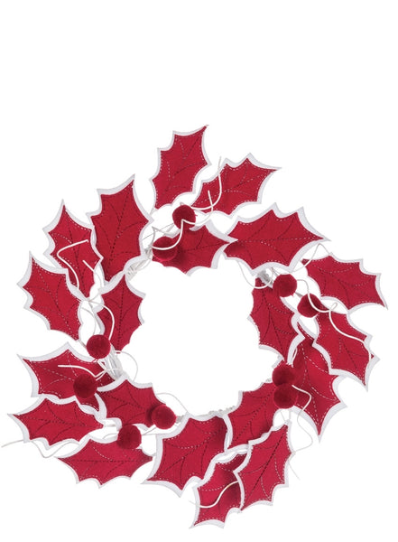Holly Leaf Accent Ring -Red/White SKU HOLF6