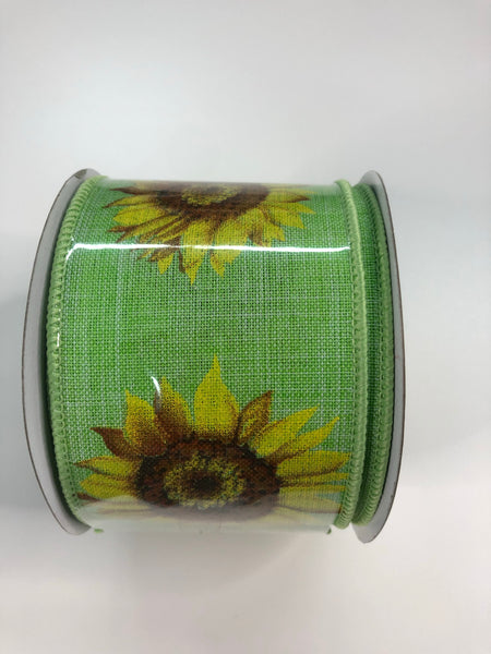 "2.5"" Linen Sunflower Ribbon- Green SKU27579G"
