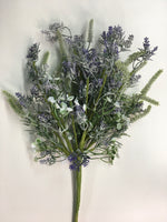 "18"" Flocked Lavender Bouquet Spray SKU B19101-LAV"