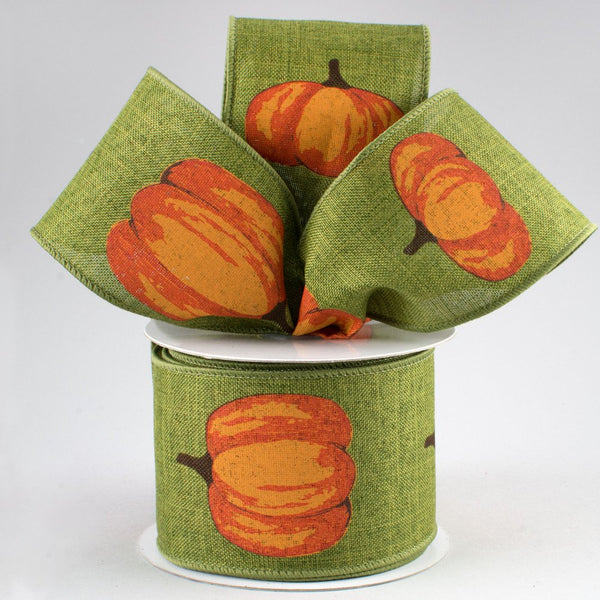 "2.5"" Orange Pumpkin On Royal Ribbon- Moss Green  SKU RG0172952"