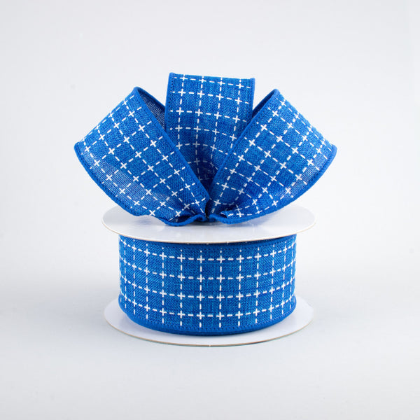 "1.5"" Raised Stitch Squares Royal Ribbon- Royal Blue  SKU RG0167725"