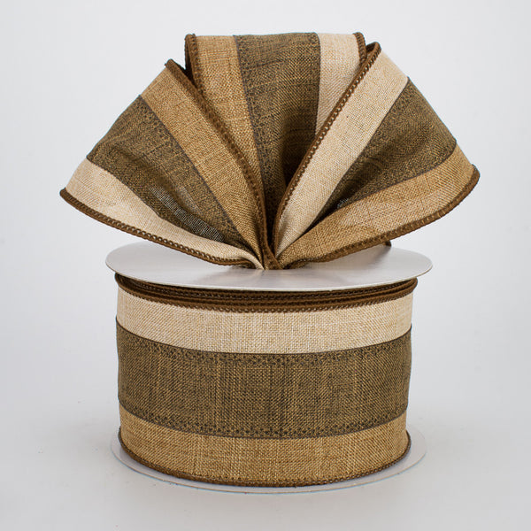 "2.5"" 3-in-1 Royal Burlap Ribbon- Light Tan/Brown/Tan SKU RG1604XE"