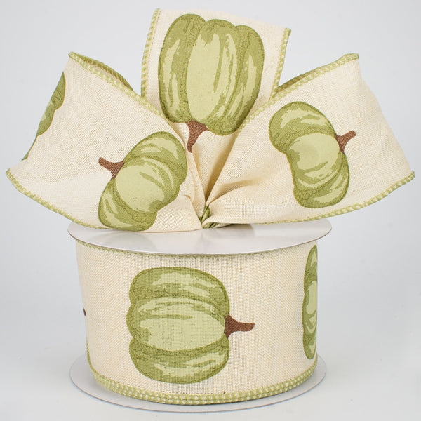 "2.5"" Green Pumpkin On Royal Ribbon- Cream  SKU RG01729H9"