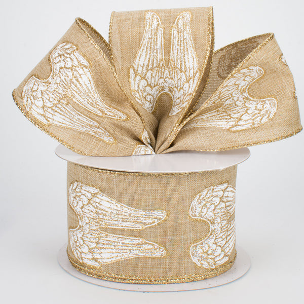 "2.5"" Angel Wings on Royal Canvas Ribbon-Light Beige  SKU RG0158101"