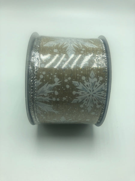 "2.5"" Metallic Snowflake Ribbon- Natural/White  SKU RX397818"