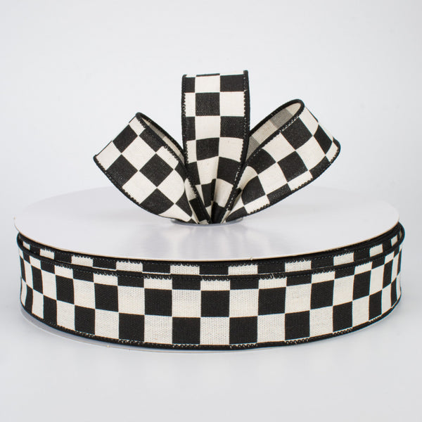 "1.5"" Black/White Checkerboard Ribbon 50YD - Q501909-623"