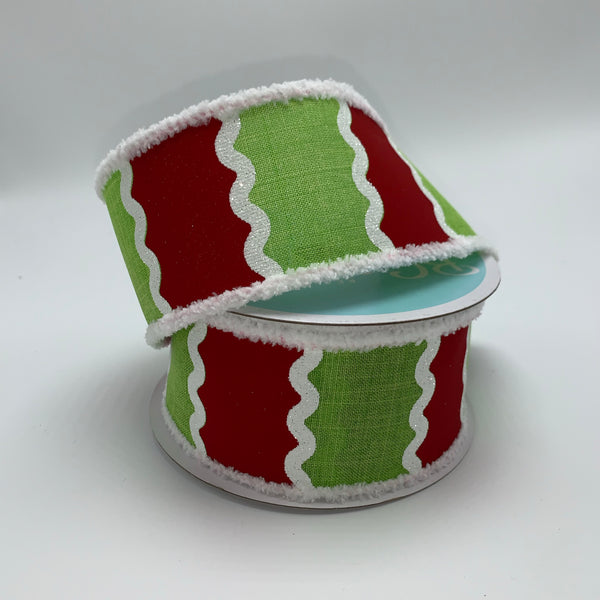 "2.5"" Wavy Stripes on Royal Ribbon Snowball Edge - Lime/Red/White SKU RG8846E9"