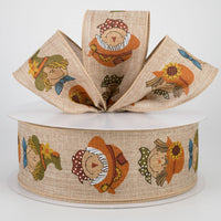 "2.5"" Smiling Scarecrow Ribbon (50 Yard)-Natural   SKU TR93840-203"