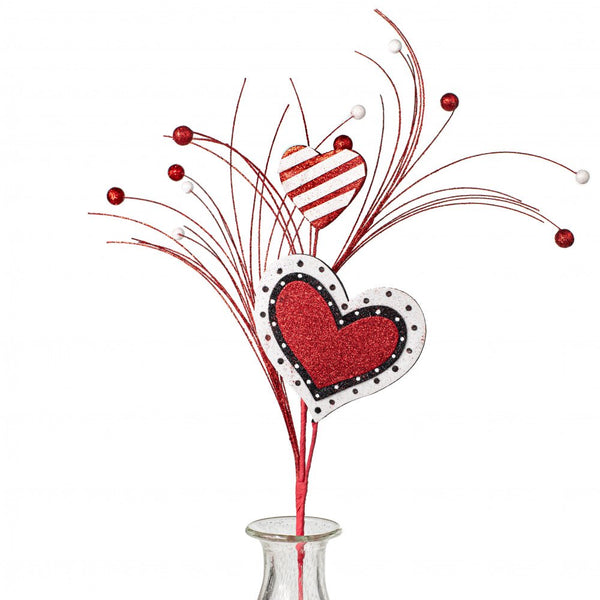 "28"" Heart Ball Spray-Red/White/Black  SKU 6206RDWTBK"