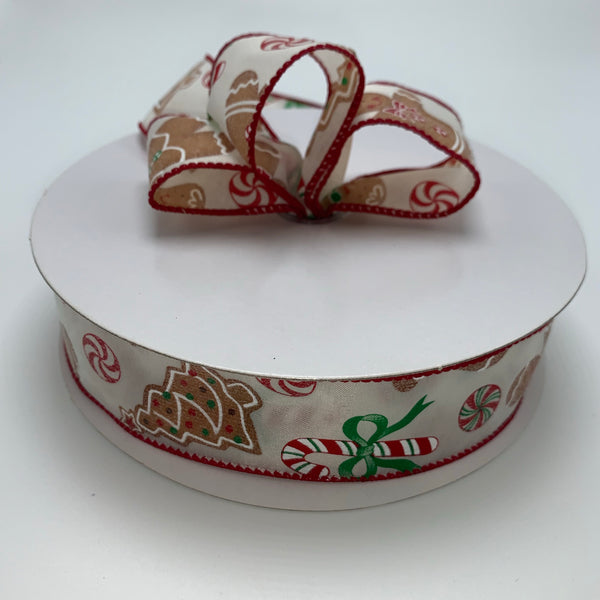 "1.5"" x 50YD Gingerbread Scene Ribbon - TR92909-130"