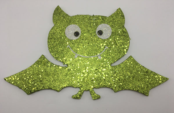 "9"" Glitter Bat Ornament- Green  SKU 52351-G"