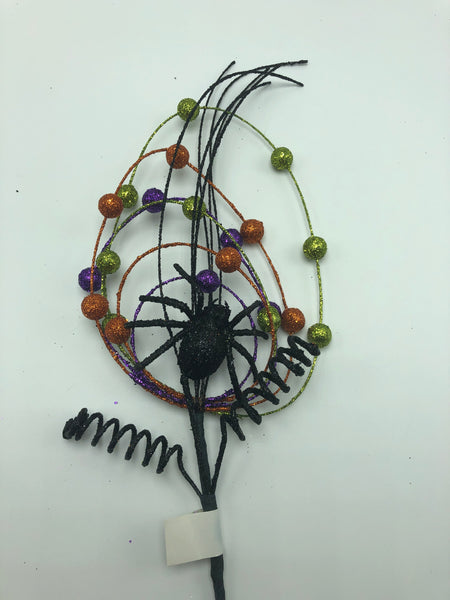 "20"" Halloween Spider Web Pick-Orange/Lime/Purple/Black   SKU HH1141"
