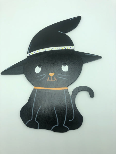 Halloween Black Cat Sign( Artisan Painted)