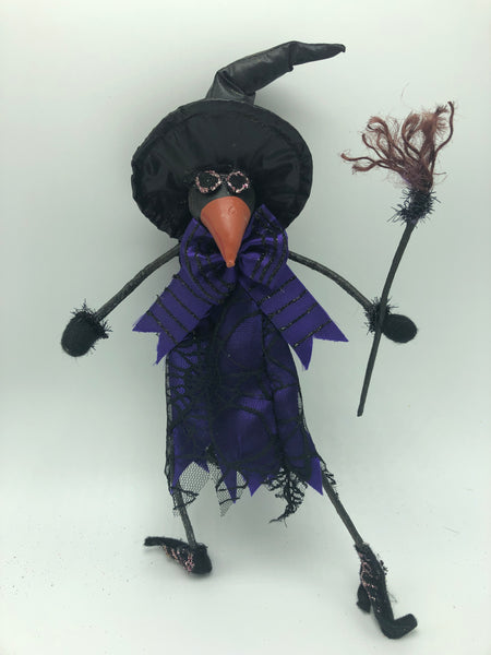 "12"" Crow Doll Halloween Decor-Black/Purple   SKU 102072"