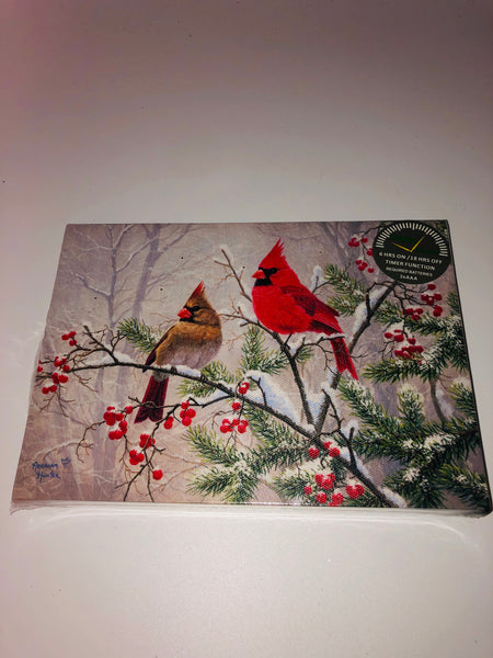 "6""x 8""  Lighted Cardinal Frame-Snow Branch  SKU OSW208555"