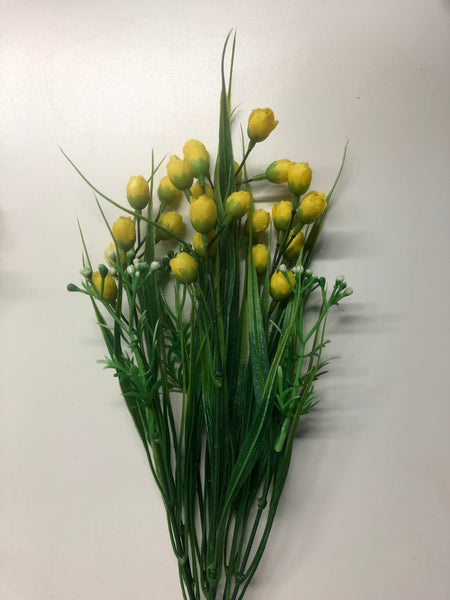 "15"" Mini Rose Bud Bush Spray-Yellow  G15042-YL"
