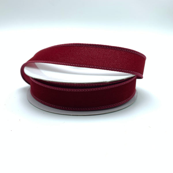 "0.625"" Velvet Ribbon- Burgundy  SKU RN490205"