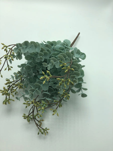 "13"" Eucalyptus Spray w/Berries-Grey   SKU 167178"