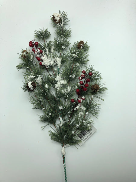 "24"" Snowy Pinecone & Red Berry Spray  SKU 333263"