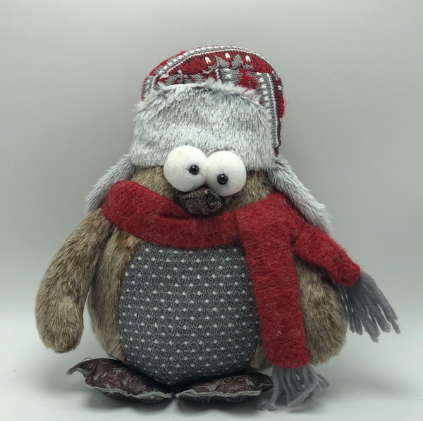 "10.5"" Merry Owl Sitter-Grey Belly    SKU HH10771"