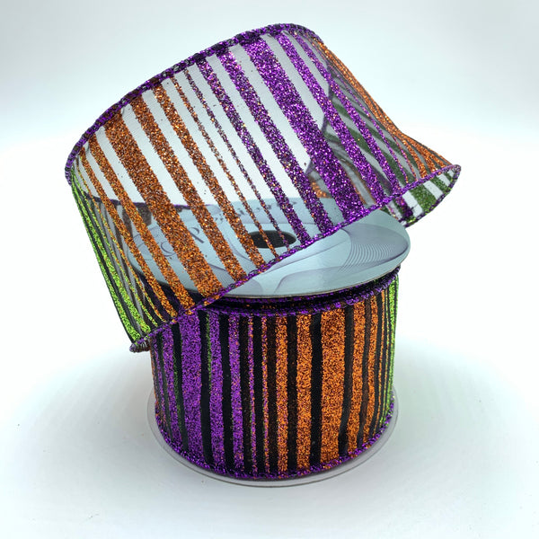 "2.5"" Glitter Horizontal Stripes Ribbon -Multi       SKU RW700681"