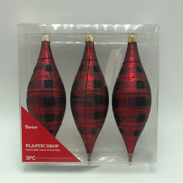 "6""  Plastic Drop Ornaments-Red/Black Check(set of 3)  SKU 30061507RBC"