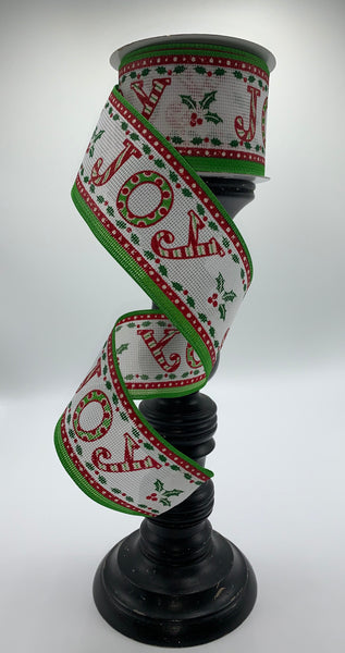 "2.5""  Joy with Holly Ribbon- Red/White/Green  SKU TR18140-09"