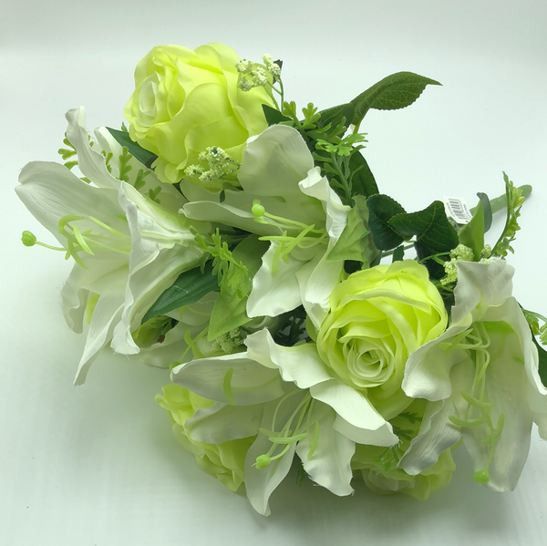 "16"" Rose Lily Bush- Chartreuse   SKU HD7957 GR/CR"