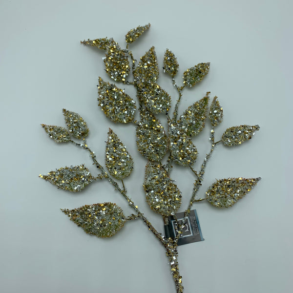 "19 ""Glitter Leaf Spray -Gold   SKU ST1600GO"