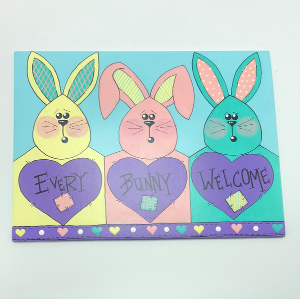 "Artisan Made: ""Every Bunny Welcome Sign"""