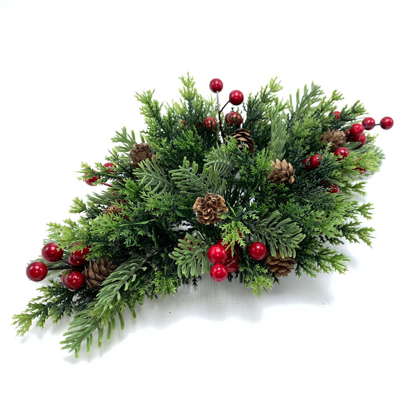 "15"" Mix Greens w/ Berries Pine Cones Centerpiece  SKU CS5050"
