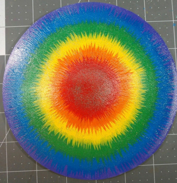"PRE - ORDER: 6"" x 6"" Handpainted EXCLUSIVE Flower Center - Rainbow Tie Dye"