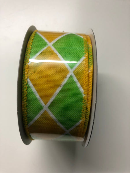 "1.5"" Diamond Ribbon-Yellow/Lime SKU TR84409-22"