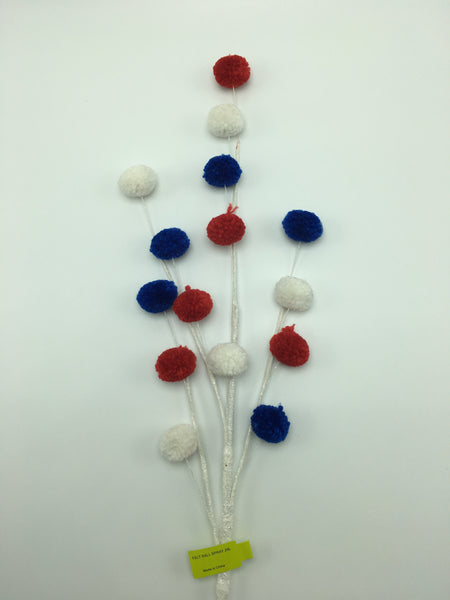"28"" Felt Ball Spray- Red, White & Blue SKU 74126RWB"