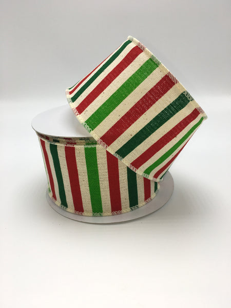 "2.5"" Holiday Stripe Hopsack Ribbon- Ivory, Dark Green, Lime, Red SKU 92782W-001-40F"