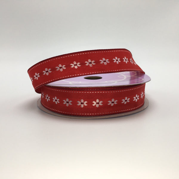 "7/8"" Daisy Flower Ribbon- Red/White SKU 56122630"