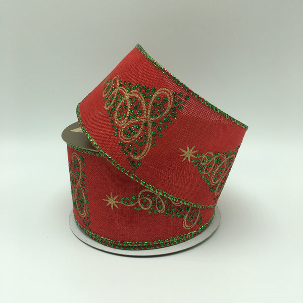 "2.5"" Glitter Tree Linen Ribbon- Red/Green/Gold  SKU 269656"