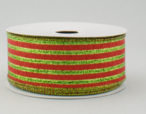 "1.5""  Metallic Stripe Ribbon-Lime/ Red SKU RG010183Y"