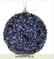"4"" Ice Sequin Ball Ornament- Midnight Blue  SKU MTX 63818"