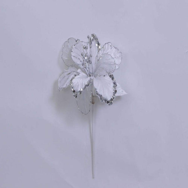 "27"" Glitter Amaryllis Flower Stem-White  SKU 0143801"